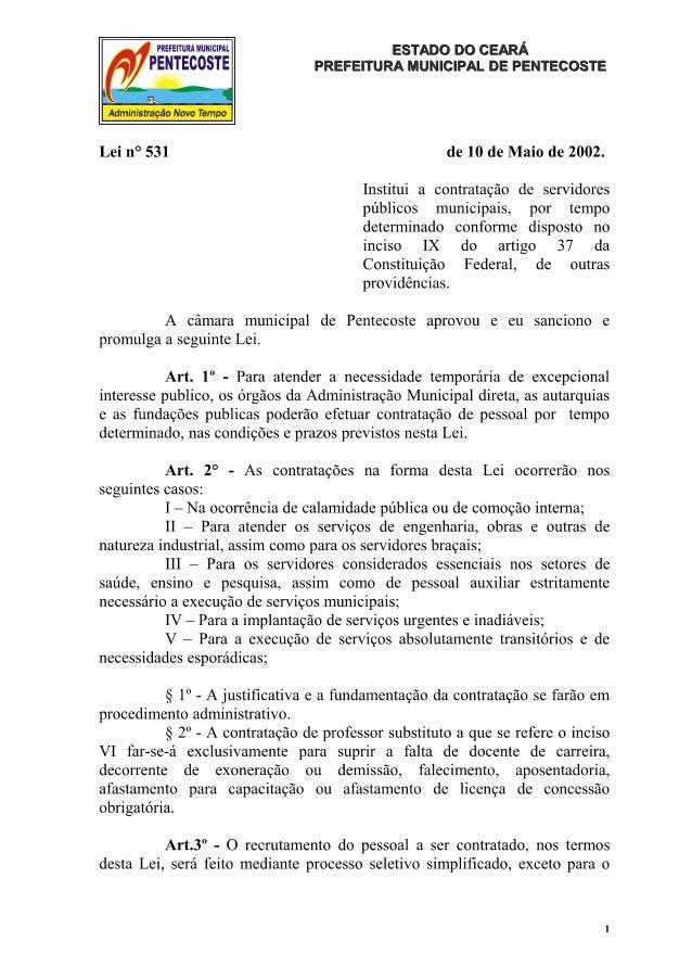 Lei que dispoe sobra a contratação temporária de servidores municipais