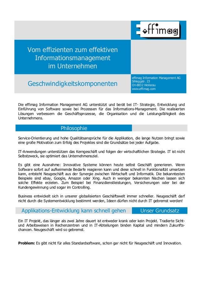 Vom effizienten zum effektiven       Informationsmanagement            im Unternehmen                                     ...