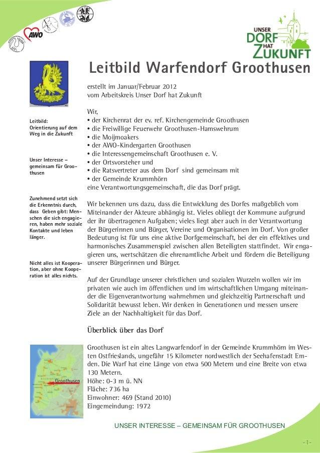 erstellt im Januar/Februar 2012vom Arbeitskreis Unser Dorf hat ZukunftWir,der Kirchenrat der ev. ref. Kirchengemeinde Groo...