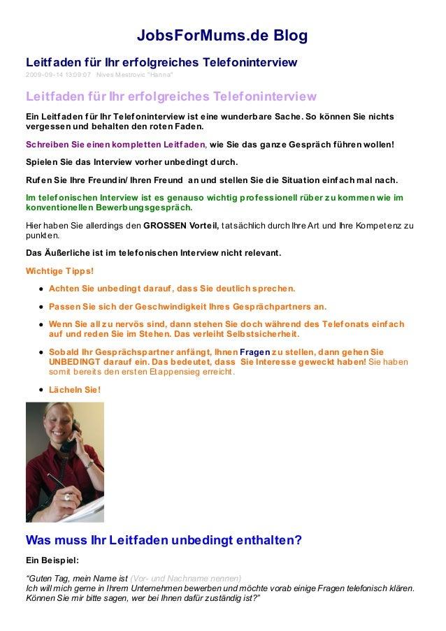 """JobsForMums.de Blog Leitfaden für Ihr erfolgreiches Telefoninterview 2009-09-14 13:09:07 Nives Mestrovic """"Hanna"""" Leitfaden..."""