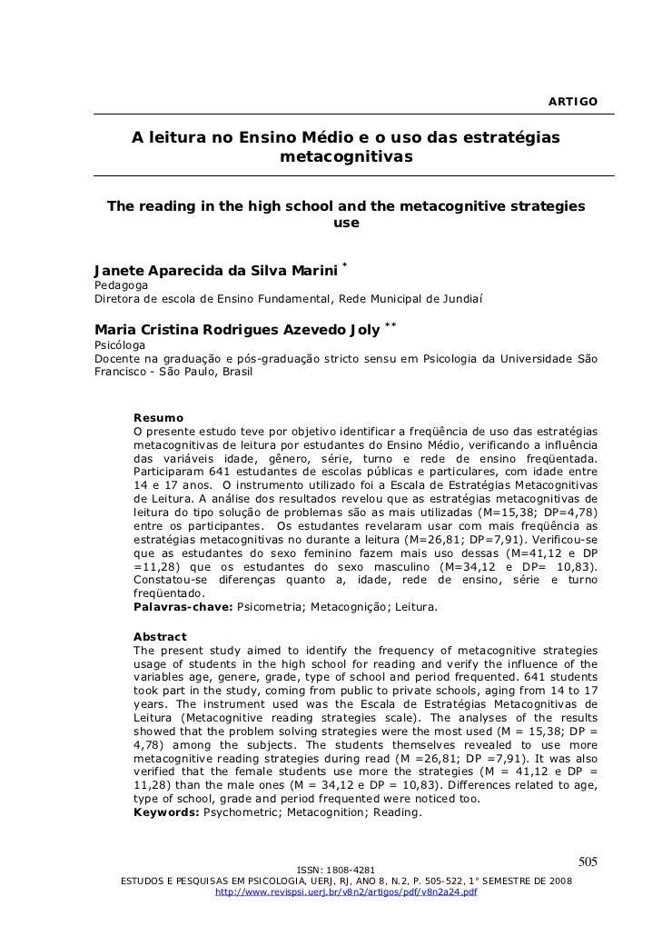 ARTIGO      A leitura no Ensino Médio e o uso das estratégias                       metacognitivas  The reading in the hig...