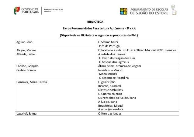 BIBLIOTECA Livros Recomendados Para Leitura Autónoma - 3º ciclo (Disponíveis na Biblioteca e segundo as propostas do PNL) ...