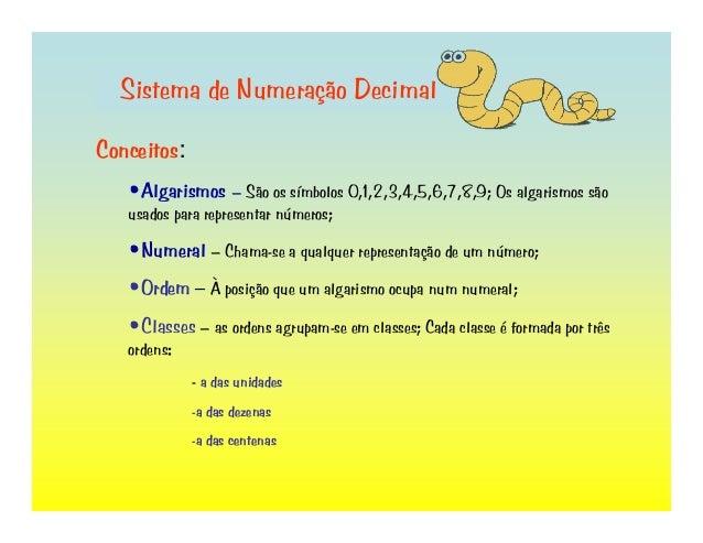 Sistema de Numeração Decimal Conceitos: •Algarismos – São os símbolos 0,1,2,3,4,5,6,7,8,9; Os algarismos são usados para r...