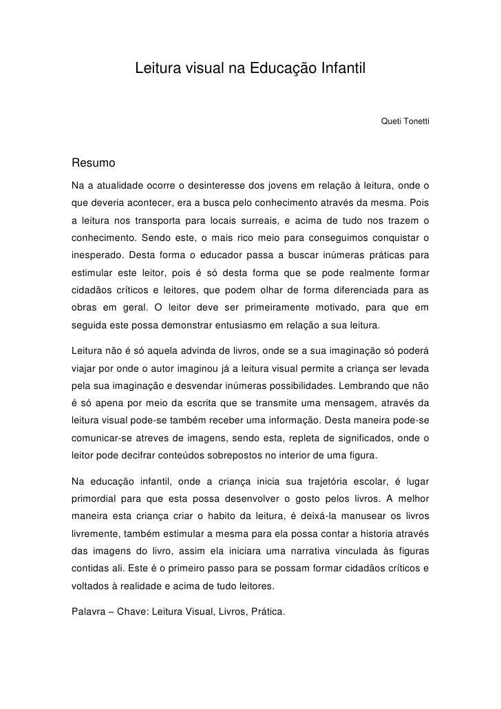 Leitura visual na Educação Infantil                                                                        Queti TonettiRe...