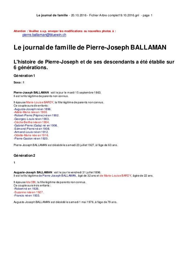 Le journal de famille - 20.10.2016 - Fichier Arbre complet19.10.2016.gnl - page 1 Attention : Veuillez s.v.p. envoyer les ...
