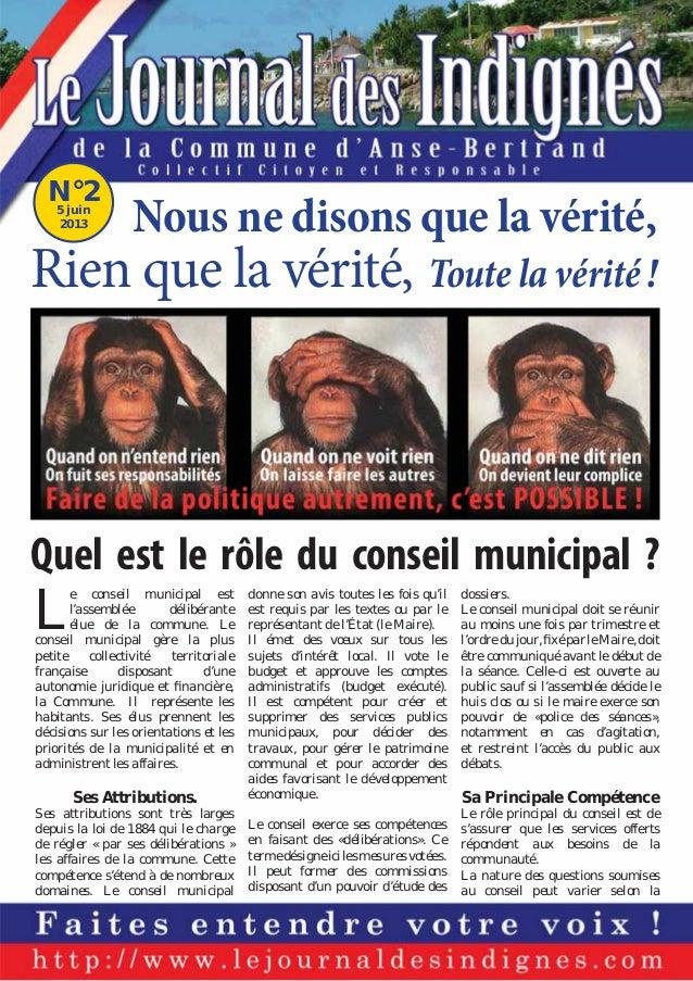 N°2 5 juin 2013  Nous ne disons que la vérité,  Rien que la vérité, Toute la vérité !  Quel est le rôle du conseil municip...