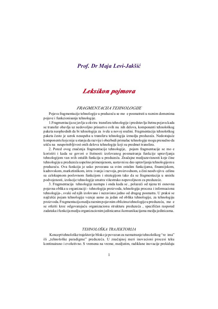 Prof. Dr Maja Levi-Jakšiæ                           Leksikon pojmova                       FRAGMENTACIJA TEHNOLOGIJE    Po...
