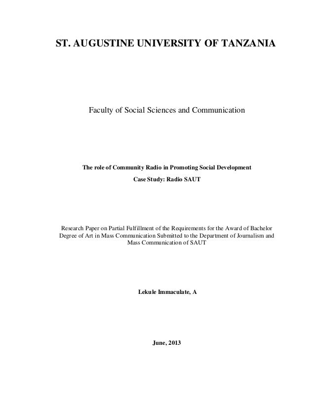 ST. AUGUSTINE UNIVERSITY OF TANZANIA Faculty of Social Sciences and Communication The role of Community Radio in Promoting...