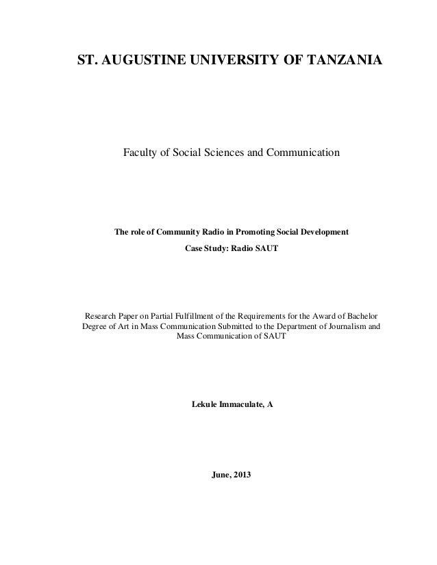 "Sr. Lekule on ""Lekule2The role of Community Radio in Promoting Social Development Case Study: Radio SAUT"""