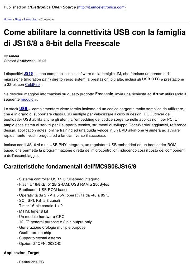Come Abilitare La Connettività Usb Con La Famiglia Di Js16 8 A 8 Bit Della Freescale