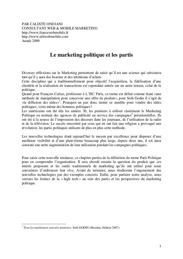 PAR CALIXTE ONDJANICONSULTANT WEB & MOBILE MARKETINGhttp://www.francewebmobile.frhttp://www.afriwebmobile.comAnnée 2009   ...