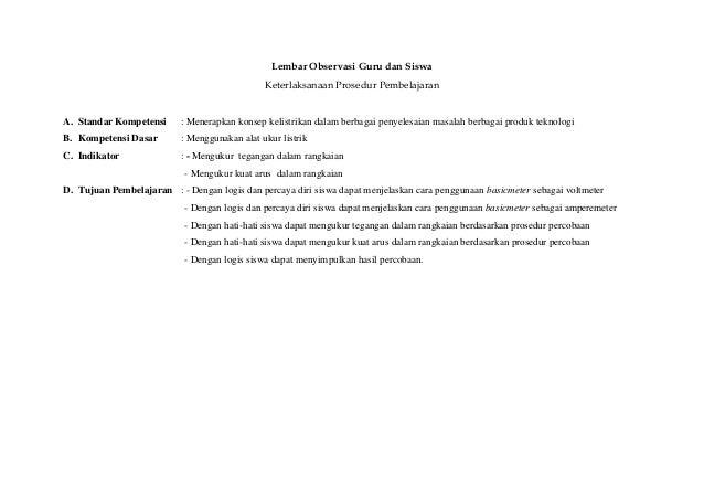 Lembar Observasi Guru dan Siswa                                               Keterlaksanaan Prosedur PembelajaranA. Stand...