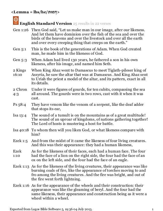 "<Lemma = lbs/he/ ְדּמּות > English Standard Version 25 results in 22 verses Gen 1:26 Then God said, ""Let us make m..."