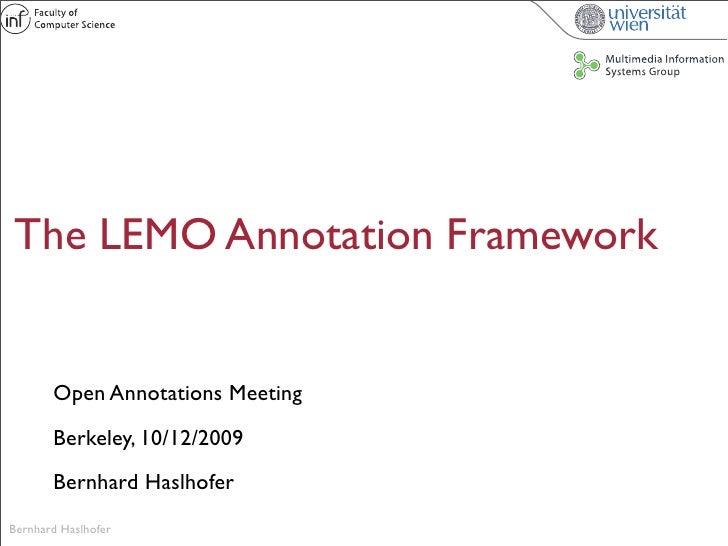 The LEMO Annotation Framework