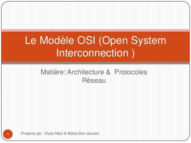 Le Modèle OSI (Open System Interconnection ) Matière: Architecture & Protocoles Réseau  1  Préparer par : Elyes Mejri & Ab...