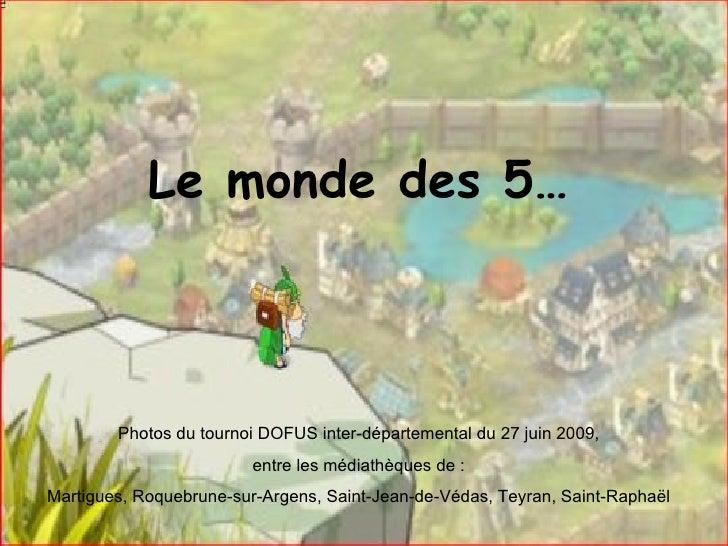 Le monde des 5… Photos du tournoi DOFUS inter-départemental du 27 juin 2009,  entre les médiathèques de :  Martigues, Roqu...