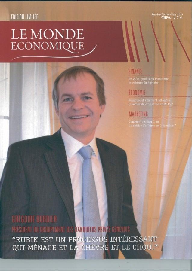 Le monde economique interview grégoire bordier janvier 2013