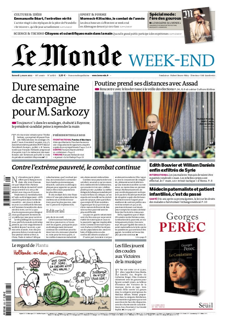 Le monde week end du 3-3-2012
