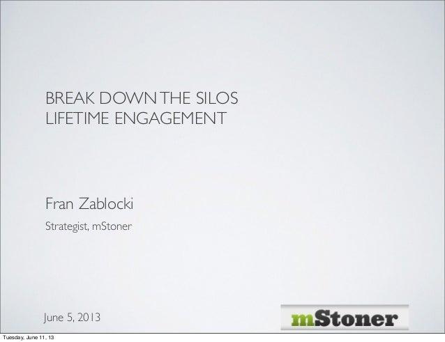 BREAK DOWNTHE SILOSLIFETIME ENGAGEMENTFran ZablockiJune 5, 2013Strategist, mStonerTuesday, June 11, 13