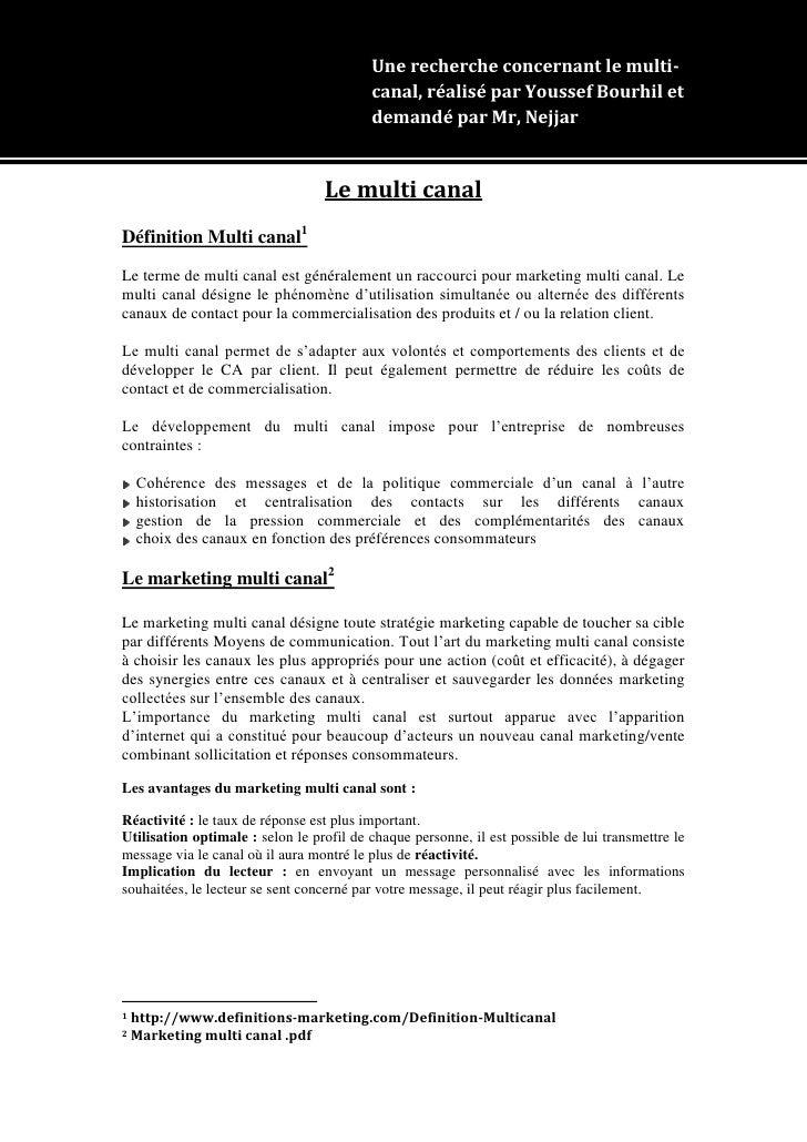 Une recherche concernant le multi-                                          canal, réalisé par Youssef Bourhil et         ...