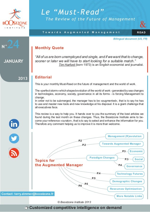 """Le """"Must-Read""""                              The Review of the Future of Management                                        ..."""