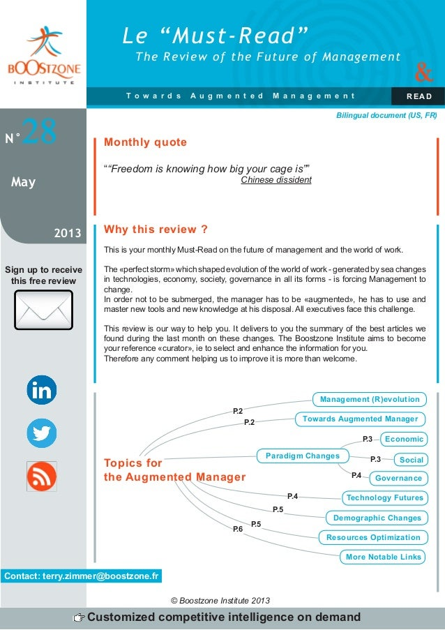 Le Must-Read by Boostzone Institute -  May 2013