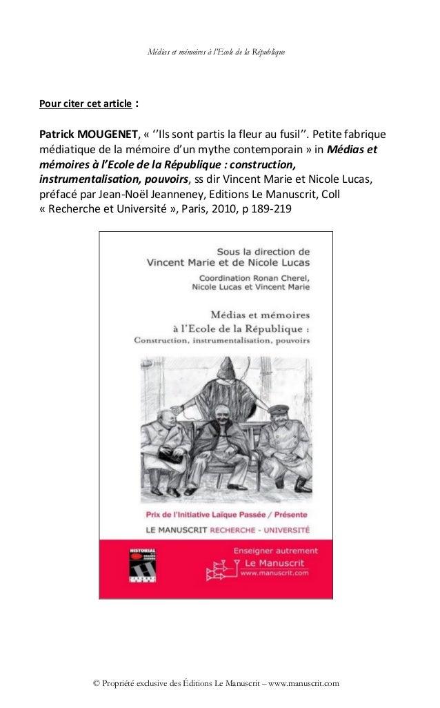 Médias et mémoires à l'Ecole de la République © Propriété exclusive des Éditions Le Manuscrit – www.manuscrit.com Pour cit...