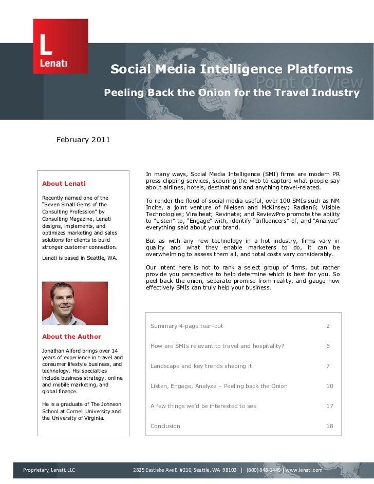 Social Media Intelligence Platforms                                 Peeling Back the Onion for the Travel Industry        ...