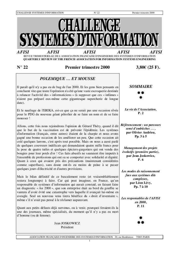 CHALLENGE SYSTEMES DINFORMATION                           N° 22                       Premier trimestre 2000AFISI         ...