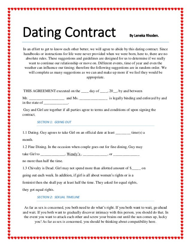 funny contracts for dating Funny lol so much bs but it funny relationship contract both parties mutually agree to use the following terminology in describing their said dating.