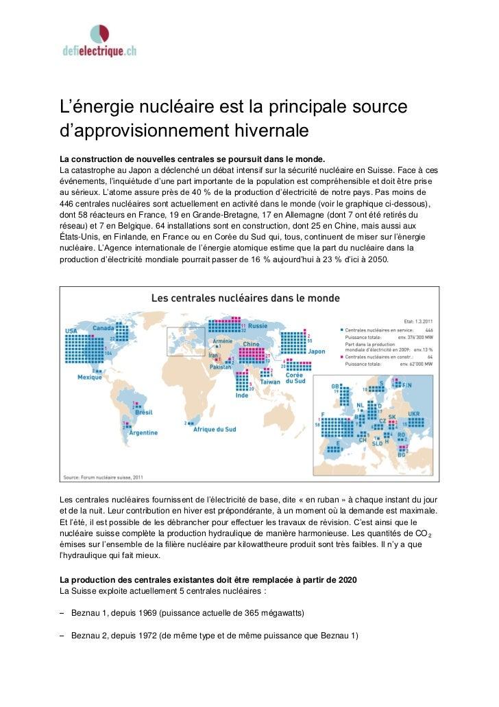 L'énergie nucléaire est la principale sourced'approvisionnement hivernaleLa construction de nouvelles centrales se poursui...