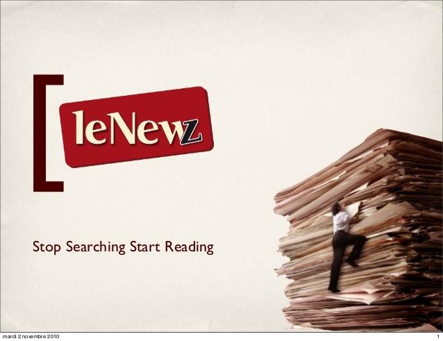 Stop Searching Start Reading [ 1mardi 2 novembre 2010