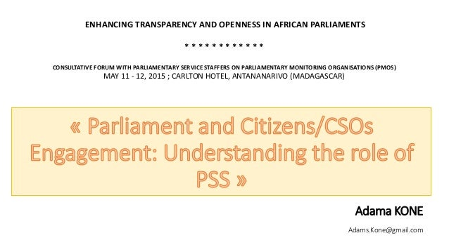 Adama KONE Adams.Kone@gmail.com ENHANCING TRANSPARENCY AND OPENNESS IN AFRICAN PARLIAMENTS * * * * * * * * * * * * CONSULT...
