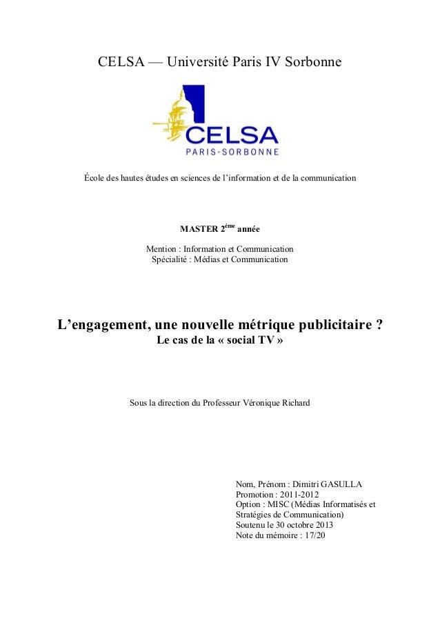 CELSA — Université Paris IV Sorbonne  École des hautes études en sciences de l'information et de la communication  MASTER ...