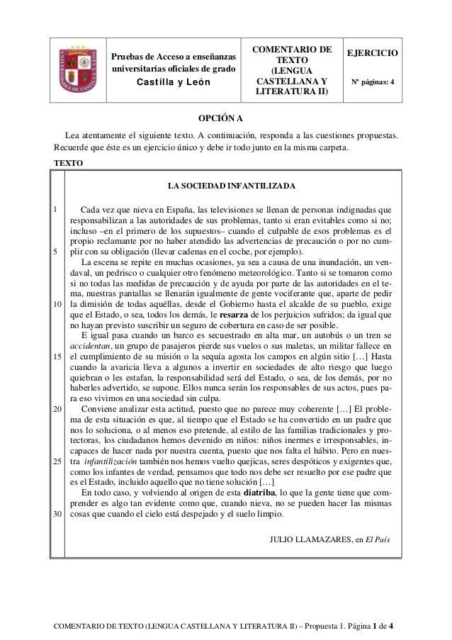 COMENTARIO DE TEXTO (LENGUA CASTELLANA Y LITERATURA II) – Propuesta 1. Página 1 de 4 OPCIÓN A Lea atentamente el siguiente...