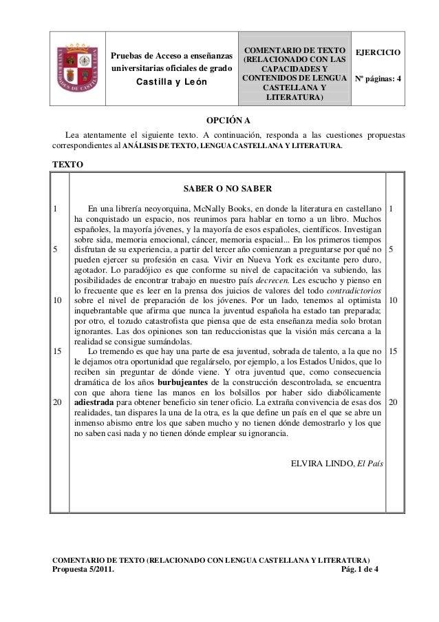 Pruebas de Acceso a enseñanzas universitarias oficiales de grado Castilla y León COMENTARIO DE TEXTO (RELACIONADO CON LAS ...