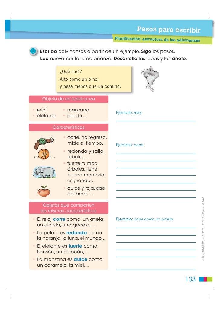 Pasos para escribir                                     Planificación: estructura de las adivinan                         ...