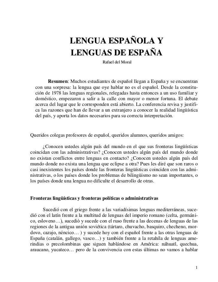 LENGUA ESPAÑOLA Y                     LENGUAS DE ESPAÑA                                     Rafael del Moral             R...
