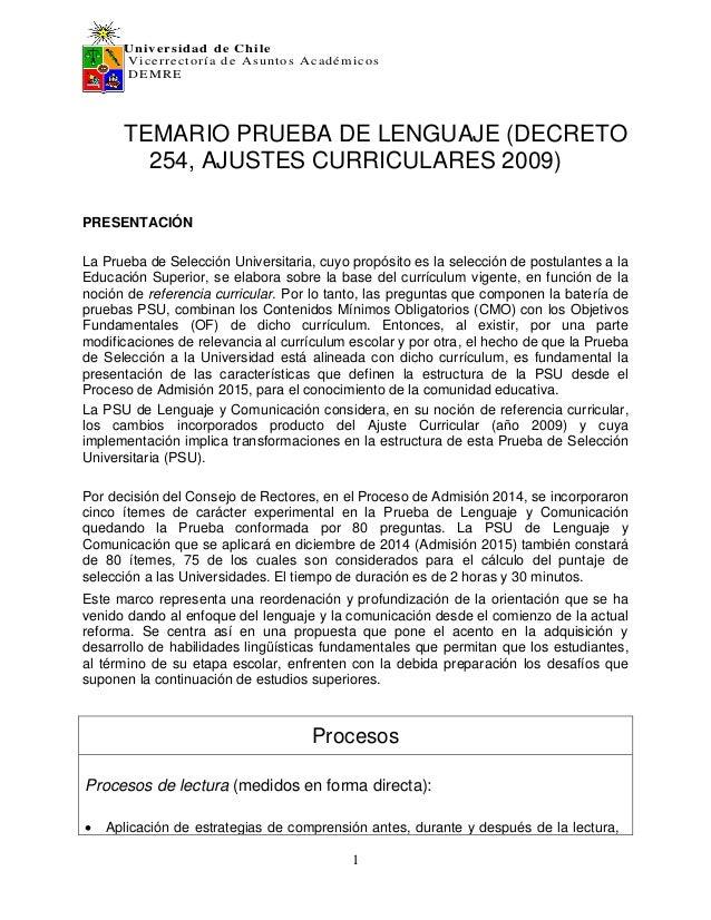 Universidad de Chile Vicerrectoría de Asuntos Académicos DEMRE 1 TEMARIO PRUEBA DE LENGUAJE (DECRETO 254, AJUSTES CURRICUL...