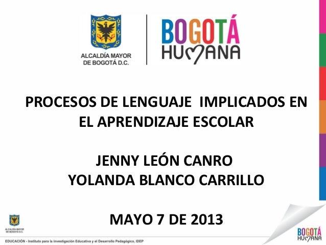 PROCESOS DE LENGUAJE IMPLICADOS ENEL APRENDIZAJE ESCOLARJENNY LEÓN CANROYOLANDA BLANCO CARRILLOMAYO 7 DE 2013