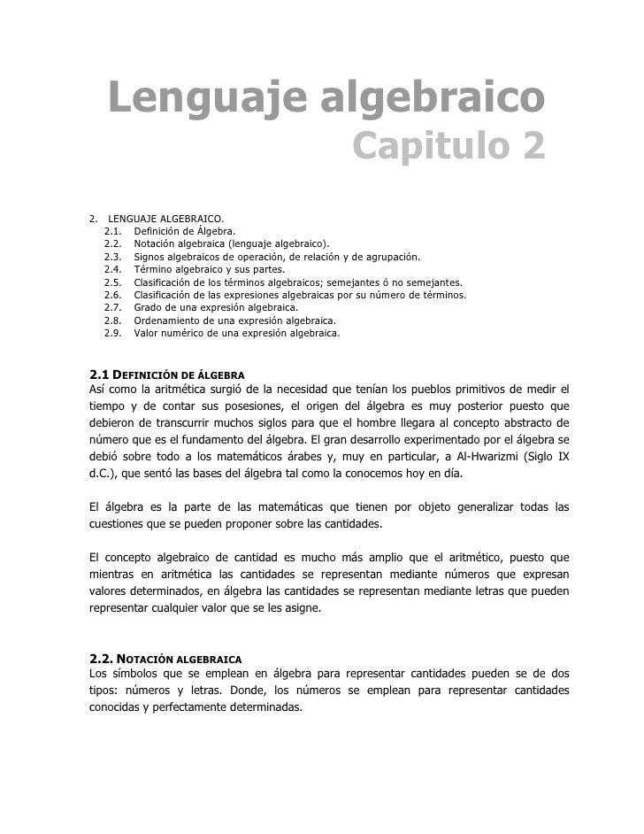 Lenguaje algebraico                                                        Capitulo 2 2. LENGUAJE ALGEBRAICO.    2.1. Defi...