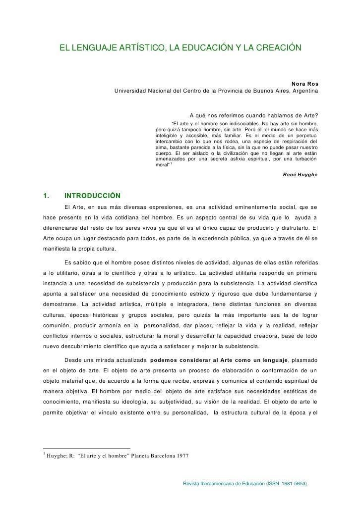EL LENGUAJE ARTÍSTICO, LA EDUCACIÓN Y LA CREACIÓN                                                                         ...