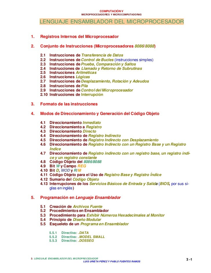 COMPUTACIÓN V                                 MICROPROCESADORES Y MICROCOMPUTADORAS     LENGUAJE ENSAMBLADOR DEL MICROPROC...