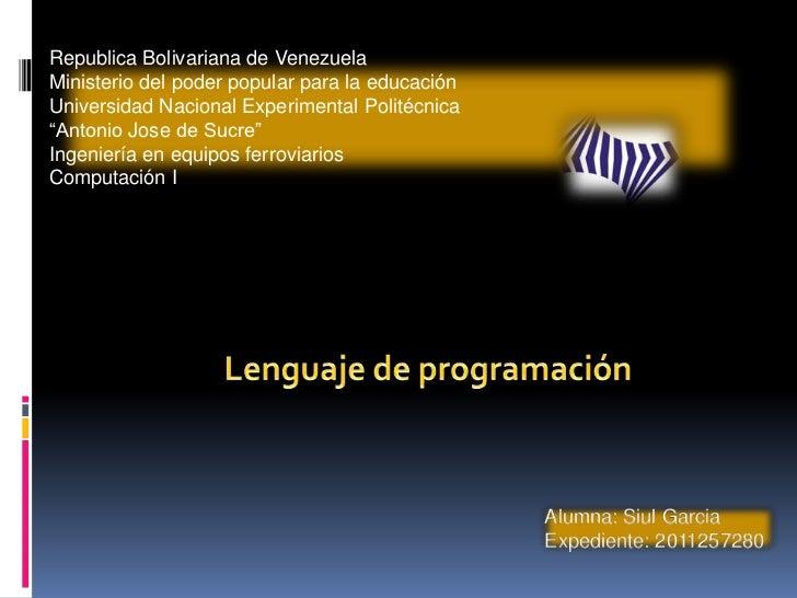 Republica Bolivariana de VenezuelaMinisterio del poder popular para la educaciónUniversidad Nacional Experimental Politécn...
