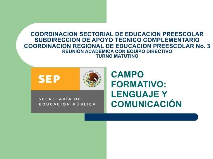COORDINACION SECTORIAL DE EDUCACION PREESCOLAR SUBDIRECCION DE APOYO TECNICO COMPLEMENTARIO COORDINACION REGIONAL DE EDUCA...