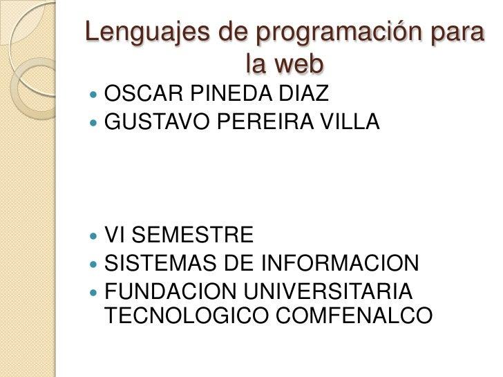Lenguajes de programación para la web