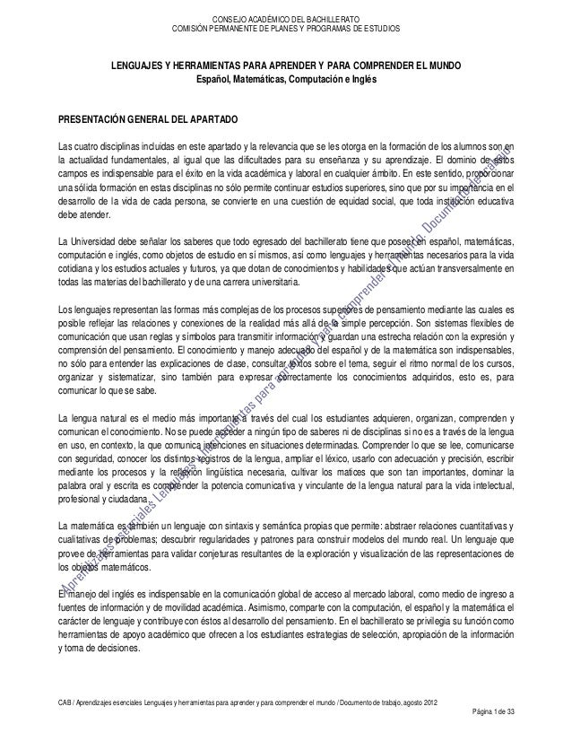 CONSEJO ACADÉMICO DEL BACHILLERATO                                       COMISIÓN PERMANENTE DE PLANES Y PROGRAMAS DE ESTU...
