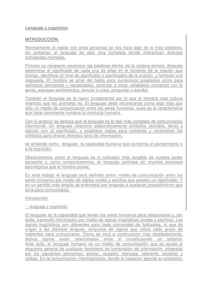 Lenguaje Y Cognicion Ensayo[1]
