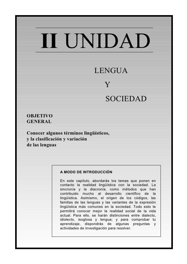 II UNIDAD                                  LENGUA                                         Y                               ...
