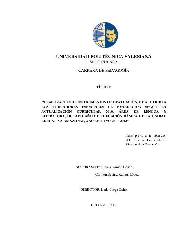 UNIVERSIDAD POLITÉCNICA SALESIANA                      SEDE CUENCA                CARRERA DE PEDAGOGÍA                    ...